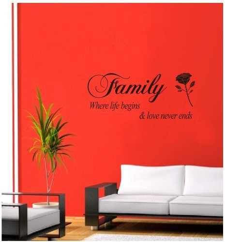 Family When Love Begins Love Never Ends Quotes Vinyl Decal Rose Wall Sticker Bedroom Home Decor Living Room Decals Love Quotes(China (Mainland))