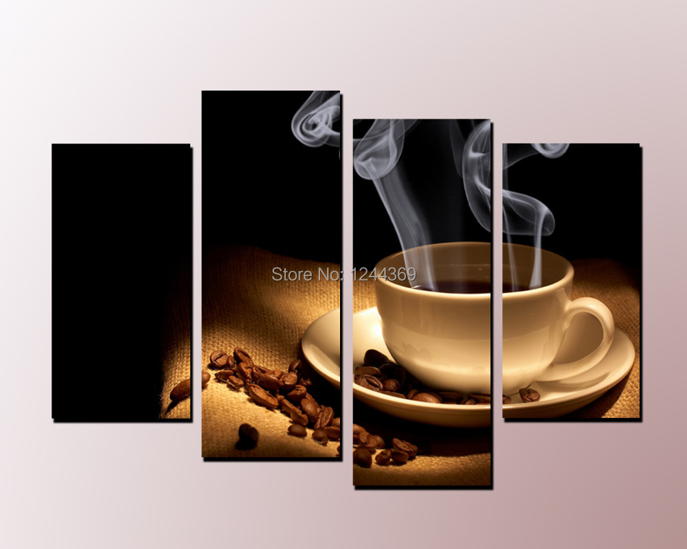 4-6 A Cup of Coffee Aroma  5 panel Large HD Canvas Print for Living Room, WHOLESALE Wall Art Picture/Photo Painting Artwork