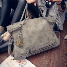 New Tassel Bags Women Branded Leather Rivet Handbag Shoulder Bag Nubuck Messenger Bag Tote