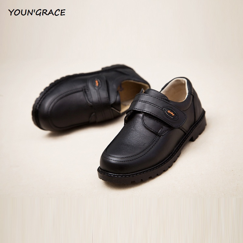 2017 New Design Kids Genuine Leather Wedding Dress Shoes for Boys Brand Children Black Wedding Shoes Boys Sports Sneakers, S011