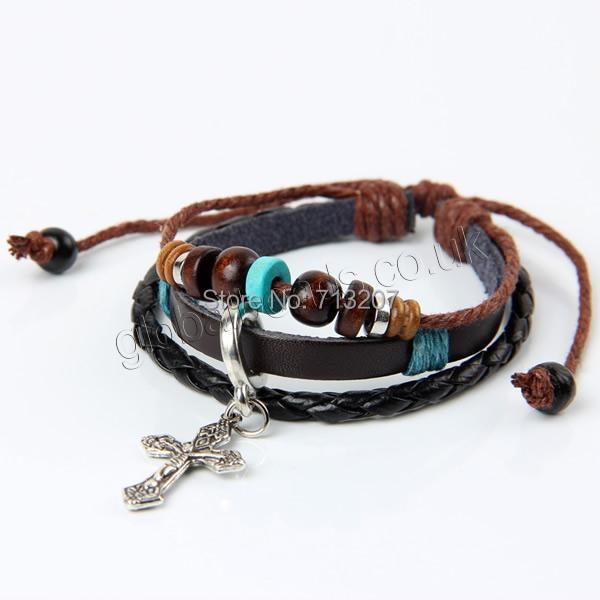 Здесь можно купить  Free shipping!!!Cowhide Bracelet,Women Jewelry, with Wax Cord & Wood & Zinc Alloy, plated, adjustable & 3-strand, 170-240mm  Ювелирные изделия и часы