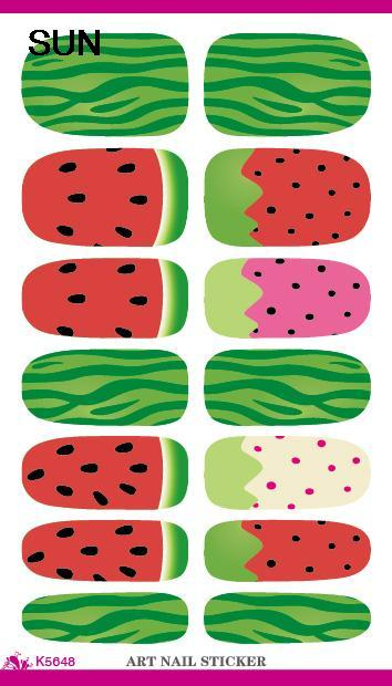 Water Transfer Nail Sticker Minx Cute Fruit Watermelon Pattern Design Nails Art Decals Manicure Decoration Nail Wraps(China (Mainland))