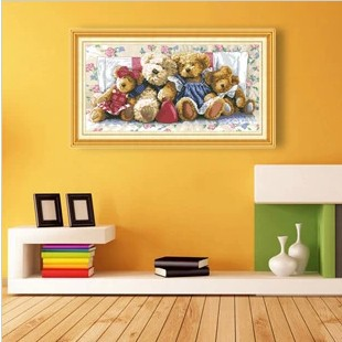 Simple diamond painting square drill cross stitch bear masonry rhinestone pasted Toy Ragdoll Children bedroom wall decoration(China (Mainland))