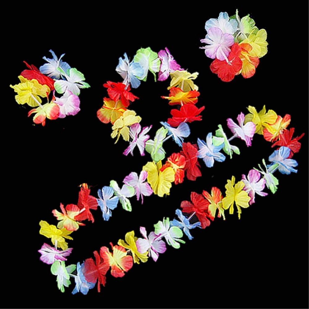 Necklace + Headband + Bracelet Wristband Hawaiian Luau Beach Party Flower Lei Fancy Dress Necklace Hula Garland Bracelet(China (Mainland))