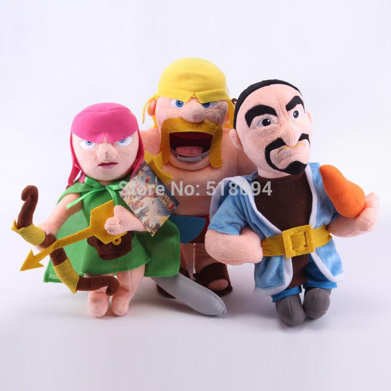 "Clash of Clans Toys Archer Wizard Barbarian Plush Toys Soft Stuffed Dolls 3pcs/lot 12"" ANPT308(China (Mainland))"