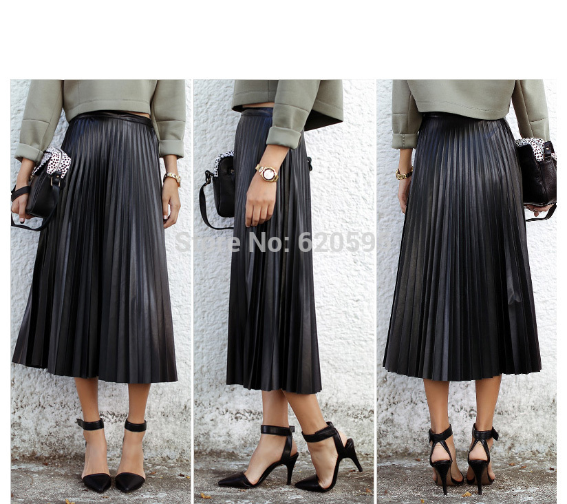 High Waisted Long Pleated Skirt - Dress Ala