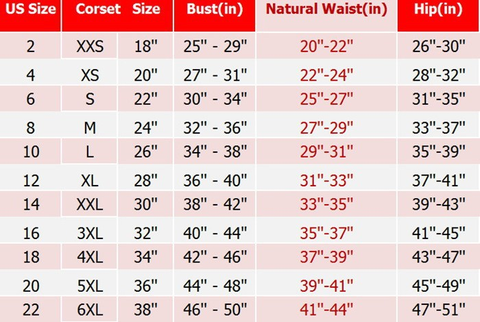 Now that you have your waist, hip, and panty size, simply reference the chart below to determine the right Shapewear size for you. Example: If your waist measured 28