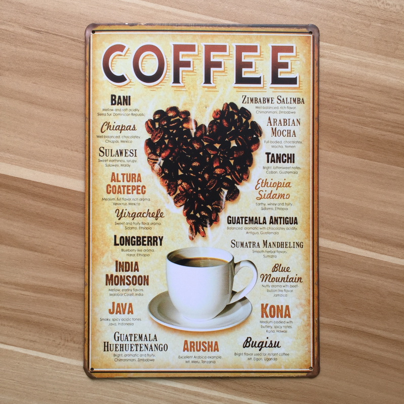 Vintage plaque painting metal wall art decor coffee beans for Decoration retro cuisine