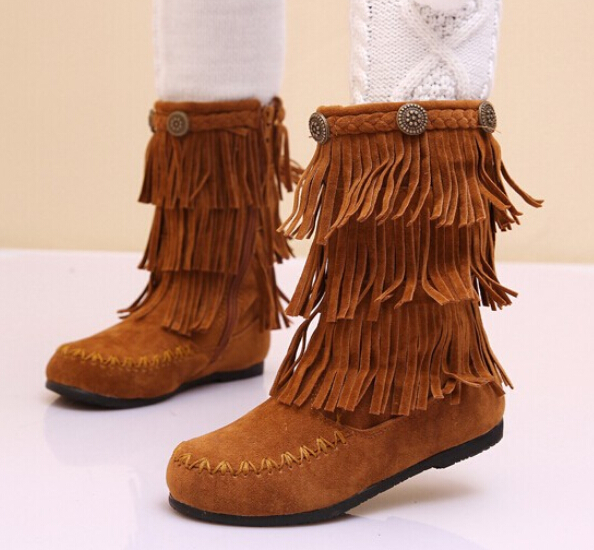 2015 new fashion Kids Children leather shoes Girls cotton padded winter boots fringed - SAR store