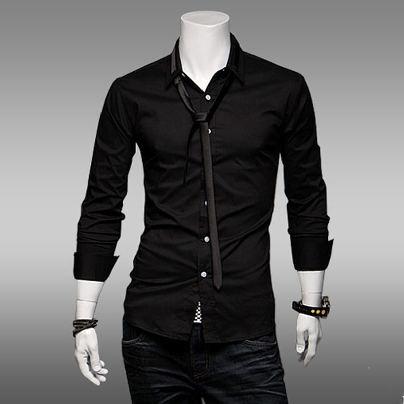 Turmec » black dress long sleeve for men