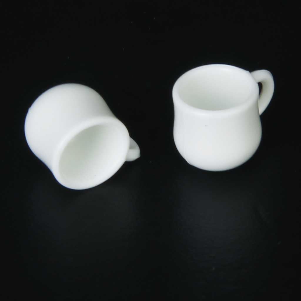 MagiDeal Dollhouse Miniature Water Pitcher Tea Pot Lid with 2 Cups White 1/12 Scale for Room Box House Model Decoration Cute Toy