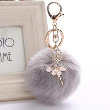 Dança anjo menina fofo pompom chaveiros para chaves falso coelho bola de pele feminino saco encantos jóias presente pompons saco acessórios(China)