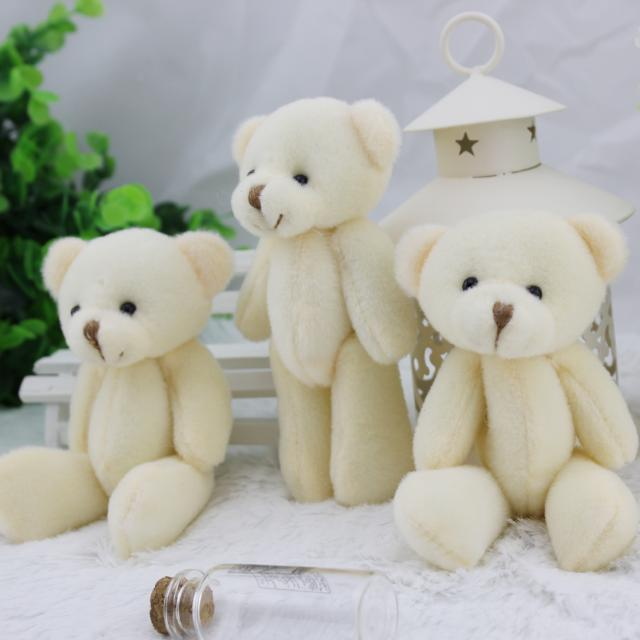 6 12CM white jointed mini teddy bear small /cartoon bouquet toy/wedding gifts - Iyue toy Store store