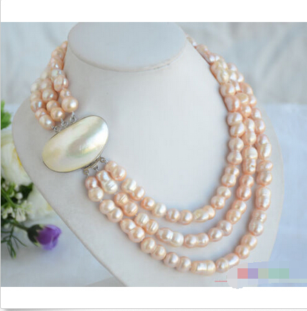 P4864 3row 20 19mm pink double freshwater pearl necklace Noble style Natural Fine jewe fast SHIPPING<br><br>Aliexpress