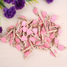 50pcs Mini Love Heart Wooden Clothespin Pinza de madera Clothespin bois Craft Clips DIY Clothes Photo Paper Peg Clothespin -OH(China (Mainland))