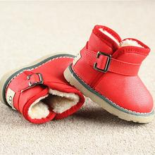 Winter Warm Boots child/kid/girl/boy Warm Bootst antislip sole short boots waterproof leather cotton-padded shoes(China (Mainland))
