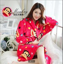 Korea Qiu Dong Latest Fashion Flannel gown Keep Warm Cartoon Long Sleeve Women Pajamas Leisure Slim Thicken Big yards Robe Q0598(China (Mainland))