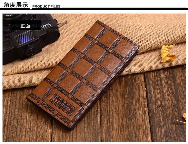 2015 New High Quality Men Chocolate Wallet Leather Fashion Design Large Capacity Men Purses Wallets(China (Mainland))