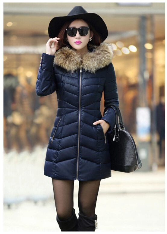 2015 New Women Fashion Leather Padding Long Coat 100% Real Natural Raccoon Fur FP374 - TopFur co.,Ltd store