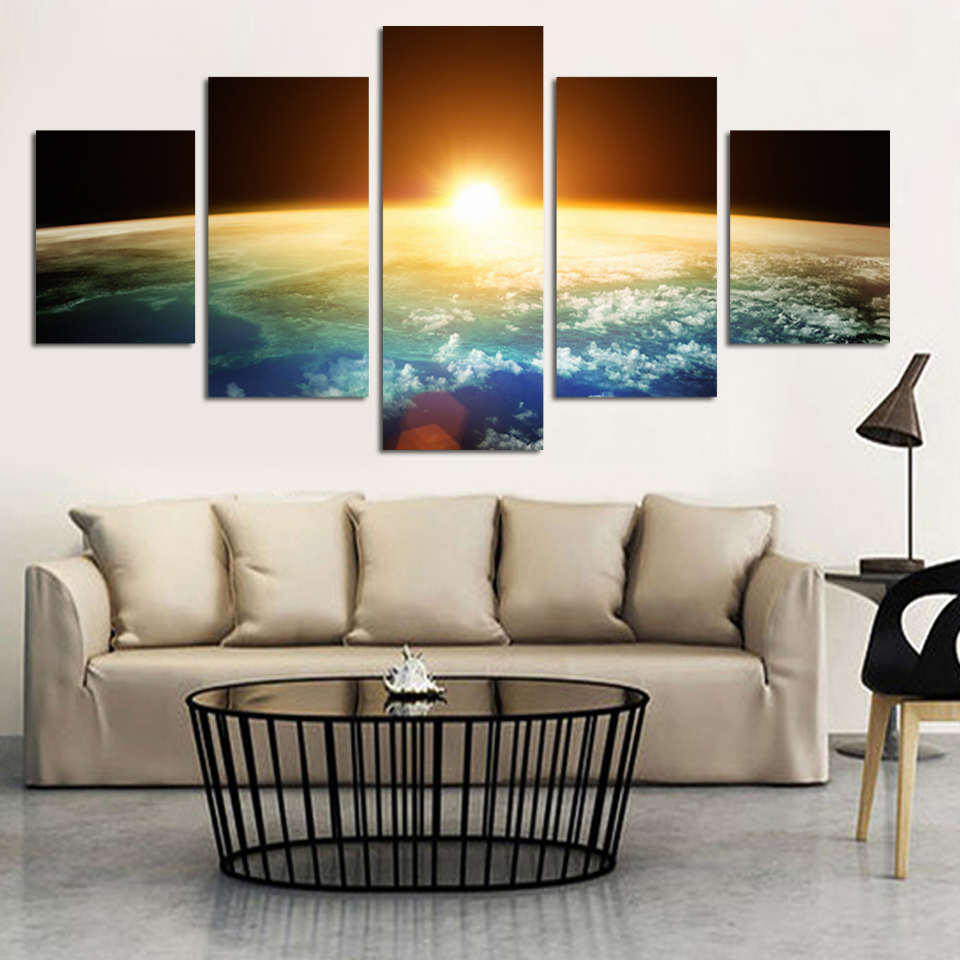 2016 oil painting 5 piece planet earth with a spectacular for Decoration murale one piece