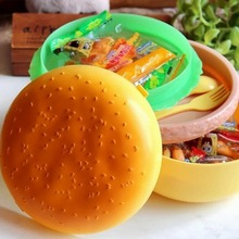 2016 New Children Hamburger Bento Lunch Box Food Container Storage with Spoon Fork Brand New(China (Mainland))