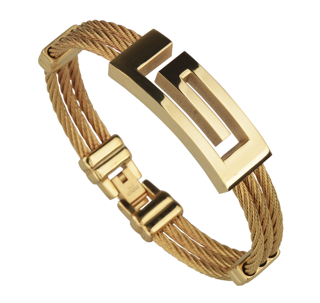 Full 18k Gold Plated Wire Cable Men Charm Bracelets Bangles Titanium Steel New 2016 Fashion Jewelry - Y-noble store