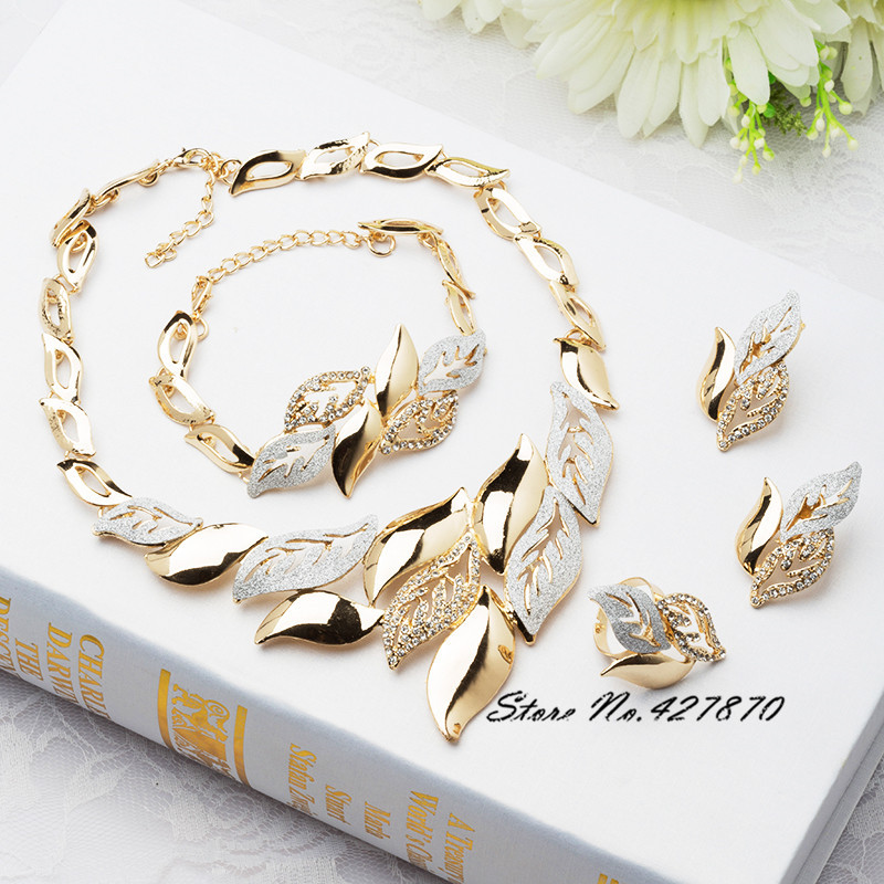 2015 luxury mosaic crystal 18k gold jewelry fashion women dubai jewelry sets necklace leaves Earrings Rings party gift J066(China (Mainland))
