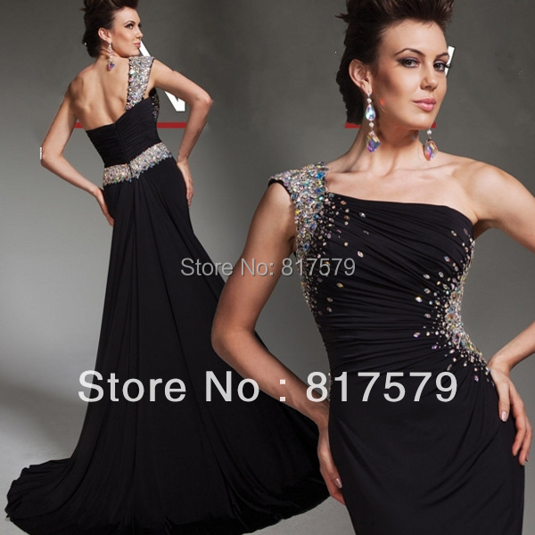 Black Color Asymmetrical 2013 Long Chiffon One Sleeve Prom Dresses