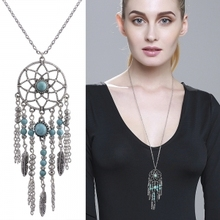 Buy Bohemian Long Chain Necklace Flower Feather Crystal Pendant Pendant Necklace Women's Fashion Jewelry 2017 Boho for $1.28 in AliExpress store
