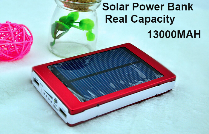 Aluminum Capacity 13000MAH Portable Solar Charging For Smartphone Solar Mobile Charger For Emergency Dual USB External Battery(China (Mainland))