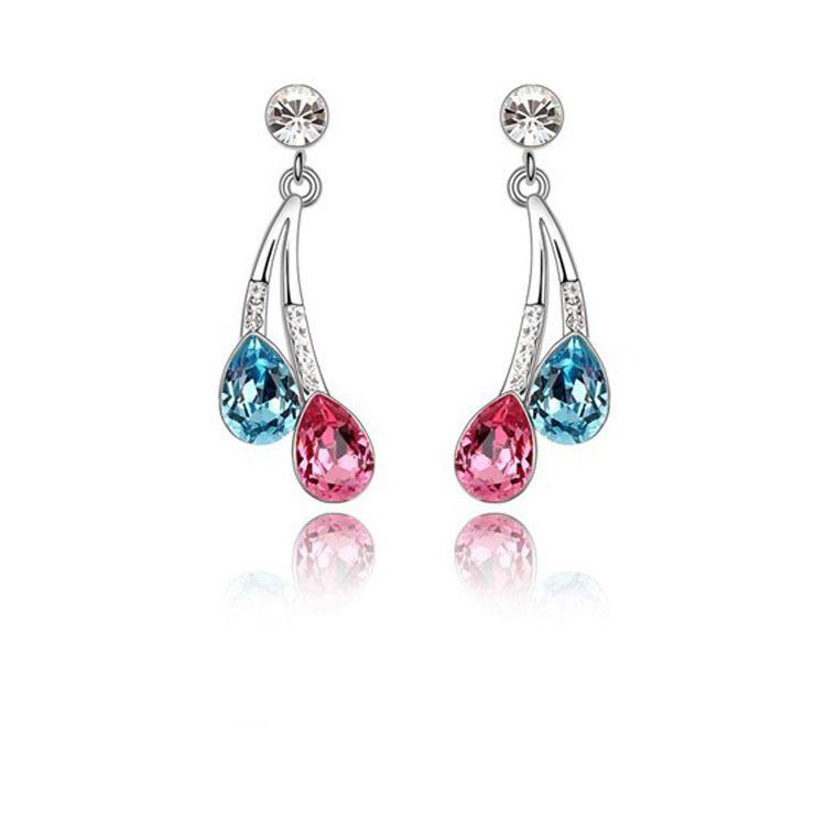 2015 Austria Crystal & Auden Rhinestone Earrings Elegant Drip Style Platinum Plated Lady Gift KG302 - Jinghong Jewelry store