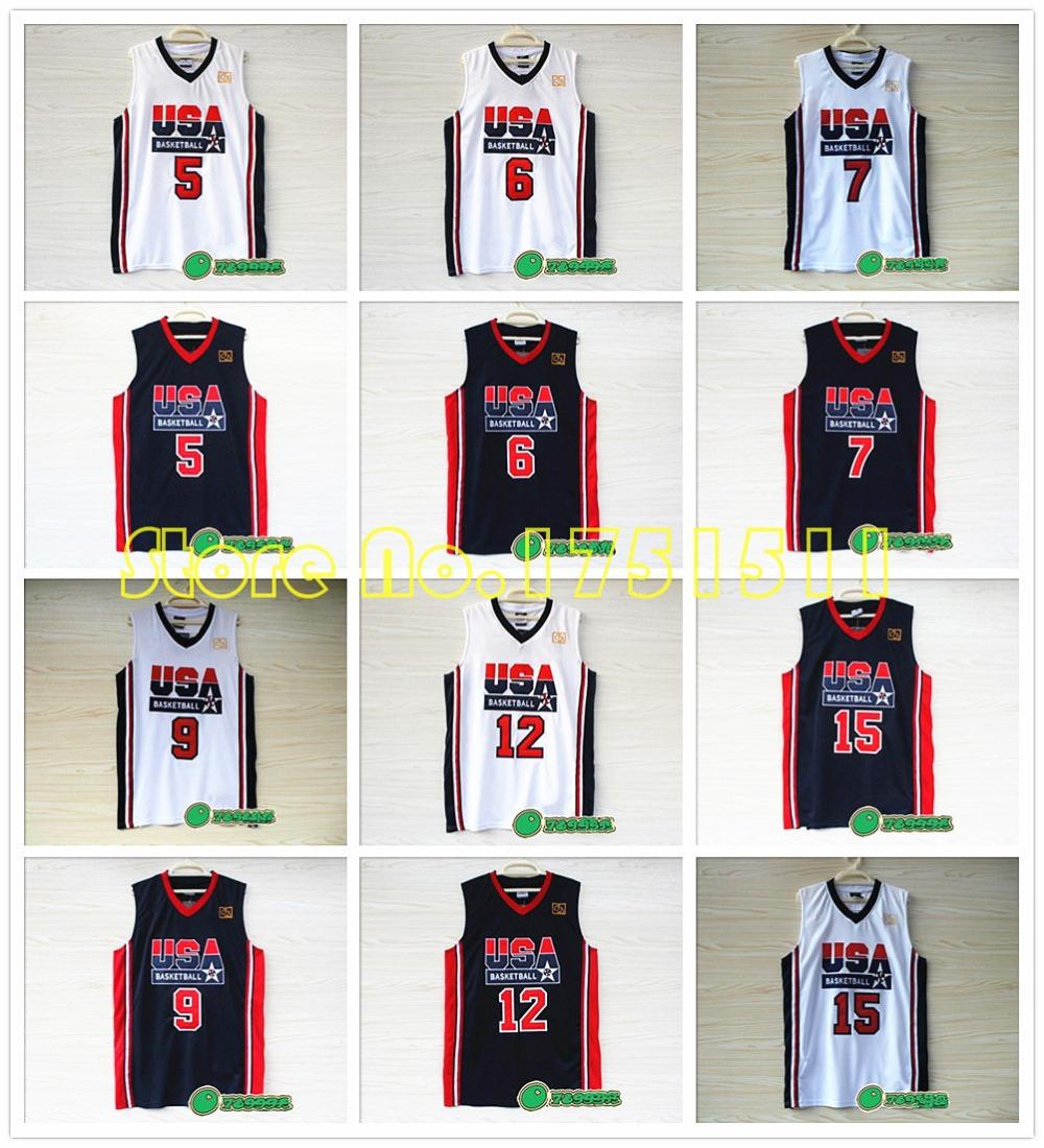 1992 Olympic Game Dream Team USA Basketball Jersey John Stockton Ewing Larry Bird Michael Jordan Magic Johnson Team USA Jersey(China (Mainland))
