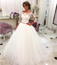 Buy 2017 Elegant White Boat Neck A-Line Lace Wedding dresses Plus Size Half Sleeve Beaded Bridal Gown Robe Mariage Vestidos de novia for $189.00 in AliExpress store