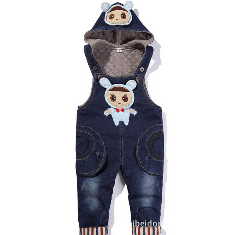 2017 Spring Autumn Baby Girls Boys Denim Overalls Jumpsuit for 1-3T Kids Girl's Cartoon Rompers Boys Jean Overalls Denim Clothes