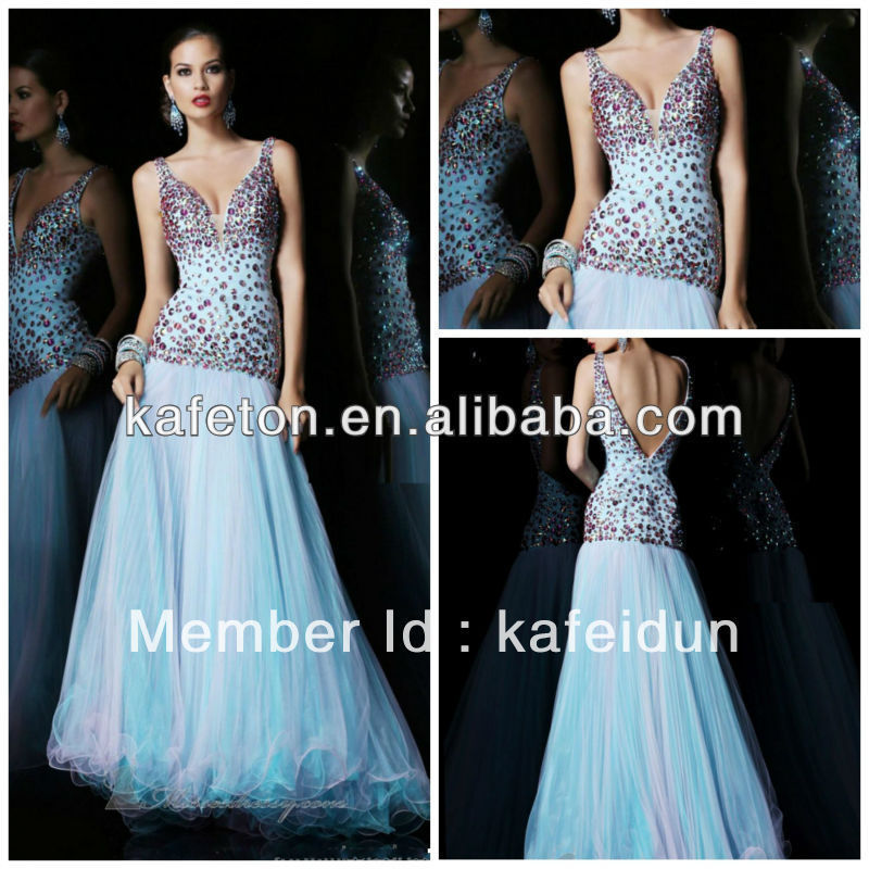 New Arrival 2012 Deep V Neck Diamond Beaded Blue Organza Indian Style Prom Dress(China (Mainland))