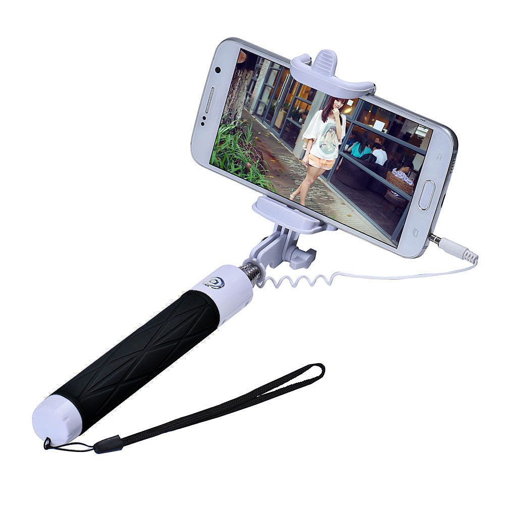 mallon wired selfie stick extendable handheld self portrait tripod monopod stick for iphone. Black Bedroom Furniture Sets. Home Design Ideas