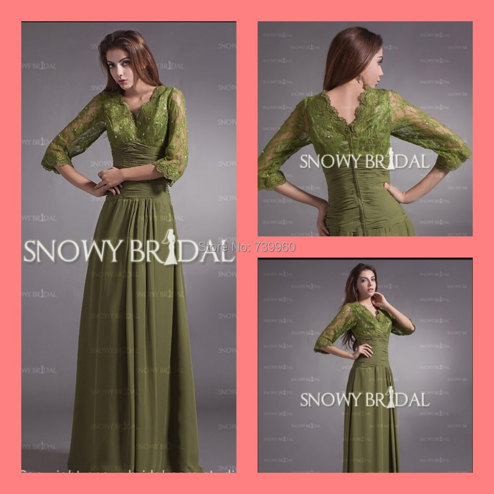 2015 modest vintage mother groom gowns Green 3/4 Sleeves Lace Chiffon Long A-Line empire Mother Bride Dress - sarah linda's store