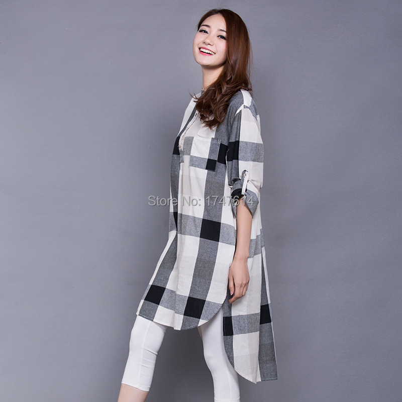 European Style 2015 Spring Summer new grid women's cotton and linen dress black and white loose big yards dress shirt(China (Mainland))