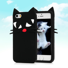 Lovely 3D Black Cat Soft Rubber Silicone Phone Case Cover iPhone 5 5G 5S 6 6G 6S 4.7'' Plus 5.5'' Silicon Cartoon Skin - Mavis's Diary store
