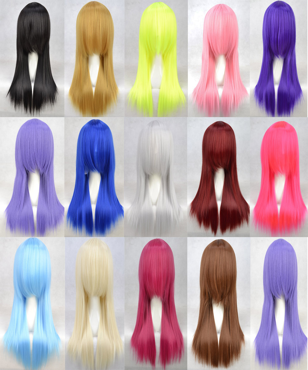 60Cm Harajuku Anime Cosplay Wigs Young Long Straight Synthetic Hair Wig Bangs Costume Party Women 14 Colors - Fibre products Co.,Ltd store