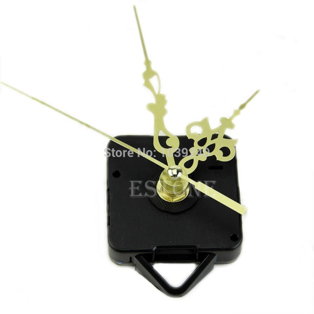 Free shipping Quartz Clock Movement Mechanism Gold Hands DIY Replace Repair Parts Kit New 03(China (Mainland))