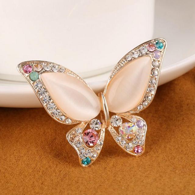Opal Butterfly Rhinestone Broach for Women