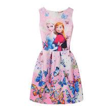 Летнее платье для девочек с изображением Анны и Эльзы; платье для девочек с принтом бабочки; платье принцессы для подростков; вечерние плать...(China)