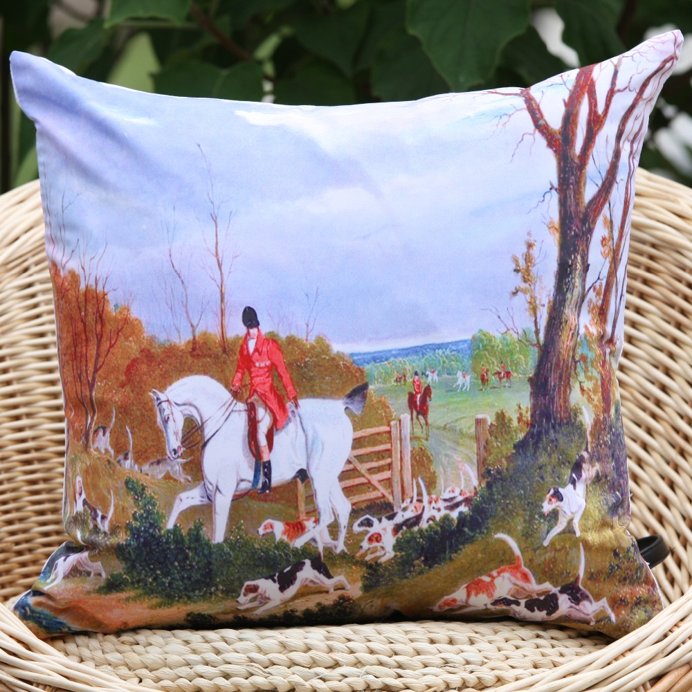 2016 new arrival England Hunting horse and dog pattern microfiber decorative pillow cover throw pillow cushion