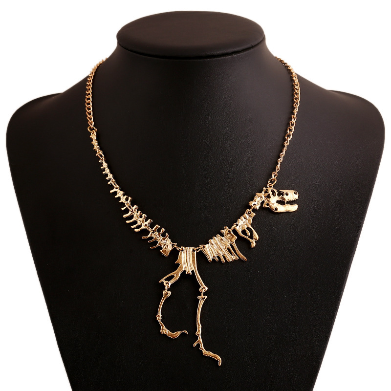 2015 Dinosaur Skeletons Exaggerated Personality Alloy Necklace Decorative Necklace European and American big new selling punk(China (Mainland))