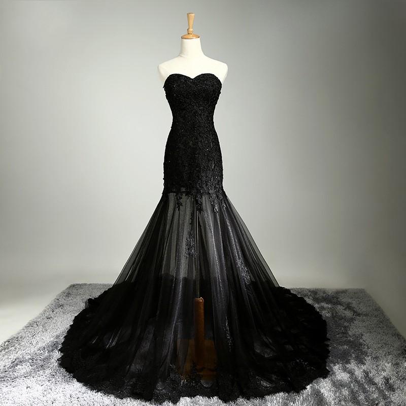 Чрезвычайно сексуальное черное кружево русалка длинные вечерние платья милая рукавов суд поезд пром ну вечеринку платье элегантный вечернее платье