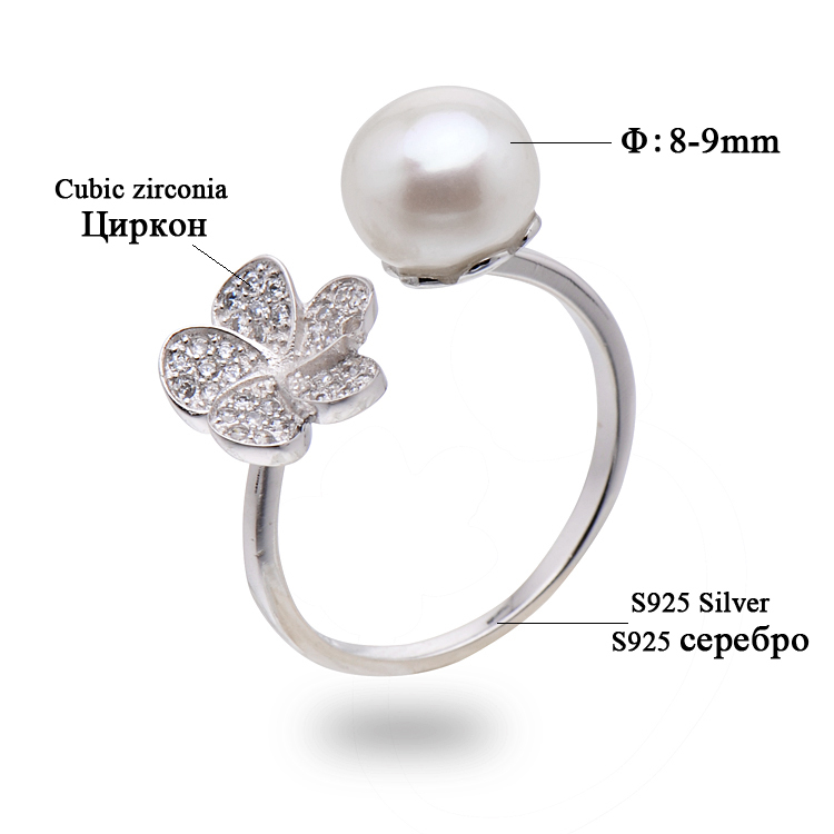 2014 New Arrival Pearl Ring For Women,8-9mm Natural Freshwater Pearl,925 Silver Gold Plated Inlaid With Rhinestones<br><br>Aliexpress