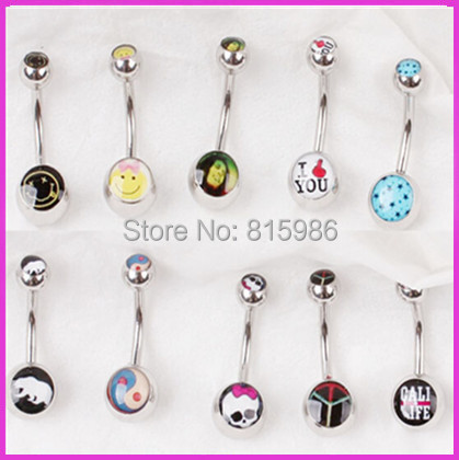 Randomly Selected Logo Navel Belly Rings Piercing Body Jewelry 14G Surgical Steel Many color Choose - JK Factory store