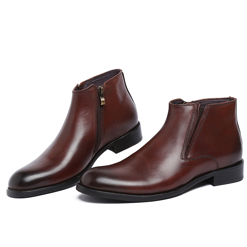 GRIMENTIN fashion Italian formal vintage mens ankle boots genuine leather brown men business shoes zb221(China (Mainland))