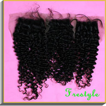 Free shipping,deep curly,kinky curly virgin remy brazilian hair free parting soft swiss top lace closure 4×4 inch 10″12″14″16″